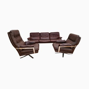 Swedish Leather & Chromed Steel Living Room Set by Arne Norell for Arne Norell AB, 1970s