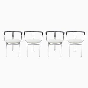 Postmoderne Esszimmerstühle mit grauem Sitz von Willy Rizzo für Cidue, 1972, 4er Set