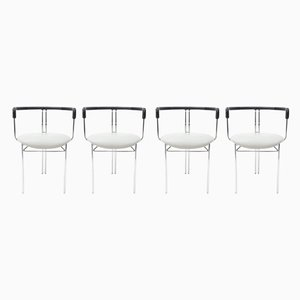 Postmoderne graue Esszimmerstühle von Willy Rizzo für Cidue, 1972, 4er Set