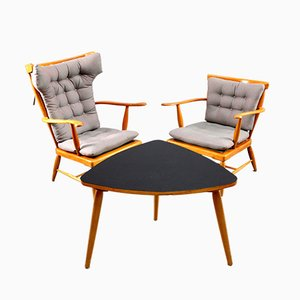 Wing Back Chair and Triangular Table from Anna Lülja Praun, 1950s, Set of 2