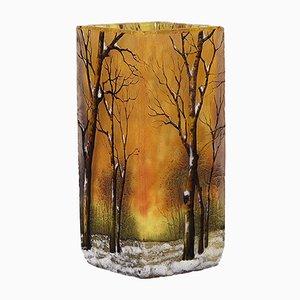 Antique Paysage d'Hiver Vase from Daum Nancy