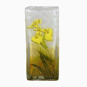 Antique Iris Flower Vase from Daum Nancy
