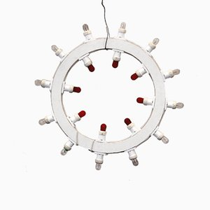 Vintage Italian Round Wall Light, 1970s