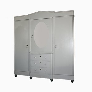 Vintage Grey Painted Wardrobe, 1930s