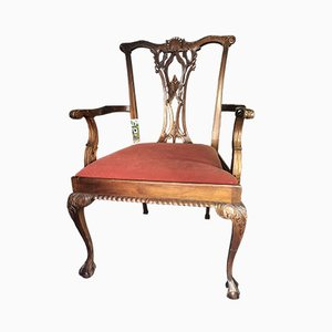 Mahogany Chippendale Style Lounge Chair, 1920s