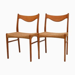 Teak Dining Chairs by Arne Wahl Iversen for Glyngøre Stolefabric, 1960s, Set of 2