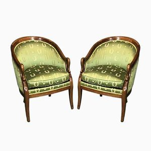 Vintage Mahogany Swan Neck Lounge Chairs, Set of 2