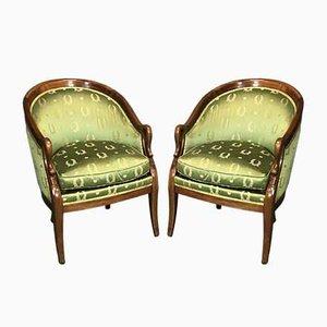 Vintage Sessel mit Gestell aus Mahagoni & Armlehnen in Schwanenhals-Optik, 2er Set