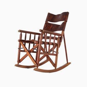 Costa Rica Schaukelstuhl mit Sitzfläche & Rückenlehne aus Leder, 1970er