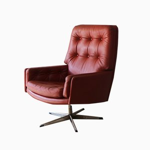 Danish Leather Swivel Chair from Farstrup Møbler, 1960s