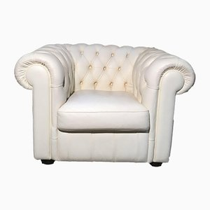 Vintage English White Chesterfield Lounge Chair by Lord Phillip Stanhope, 1960s