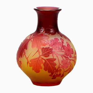 Antique Red Bulbous Vase by Emile Gallé