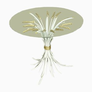 Hollywood Regency Gold & White Wheat Side Table, 1970s