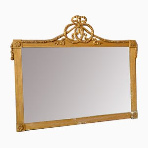 Large Antique Louix XVI Style Gilded & Beveled Mirror