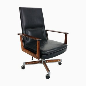 Vintage Model President Rosewood & Leather Lounge Chair by Arne Vodder for Sibast, 1960s