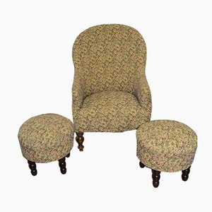 Armchair with Two Poufs, 1940s, Set of 3