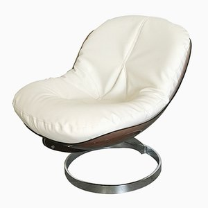 Brauner Ledersessel mit Sitzfläche aus Plexiglas von Boris Tabacoff für Mobilier Modulaire Moderne, 1970er