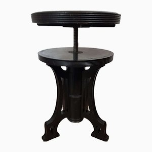 Antique Black Ebonized Art Nouveau Piano Stool