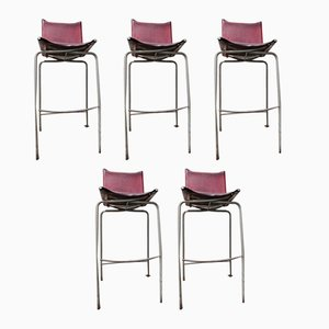Vintage Leather Bar Stools by Fabiaan Van Severen, 1998, Set of 5