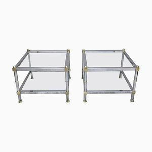 French Square Chrome Side Tables, 1960s, Set of 2