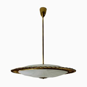 Mid-Century Italian Glass Ceiling Lamp with Decorative Brass Frame