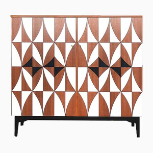 Vintage Swedish Mahogany Cabinet With Hand-Painted Pattern, 1960s