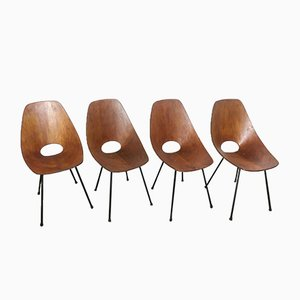 Esszimmerstühle aus Schichtholz von Vittorio Nobili für Fratelli Tagliabue, 1950er, 4er Set
