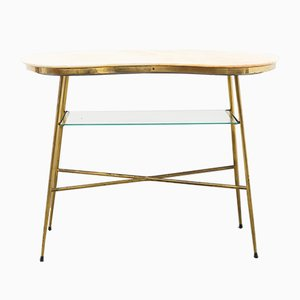Marble and Brass Console Table from Elio Capitani, 1950s