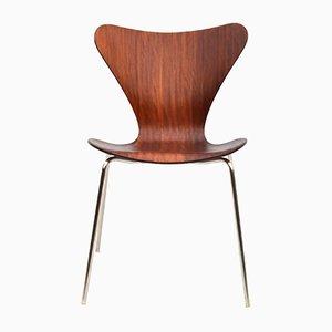 Sedia da pranzo Mid-Century in mogano di Arne Jacobsen per Fritz Hansen, Danimarca