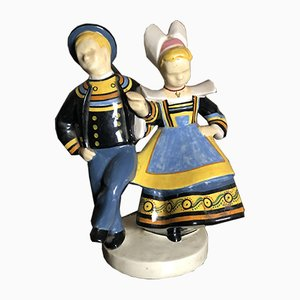 Mid-Century Ceramic Dutch Dancers Sculpture by Micheau Vernez for Quimper Henriot
