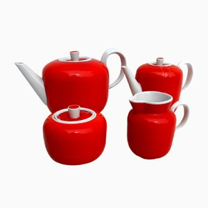 Orange Tea Service Set by Gio Ponti for Richard Ginori, 1930s