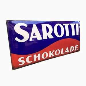 Señal de Sarotti Chocolate esmaltada en azul y rojo, años 30