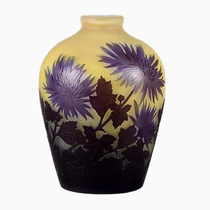 Antique Chrysanthemum Vase by Emile Gallé