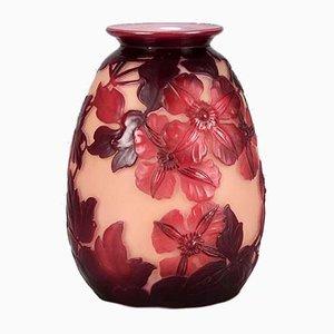 Vintage Floral Vase by Emile Gallé, 1920s