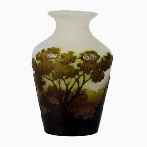 Grüne antike Vase von Emile Gallé