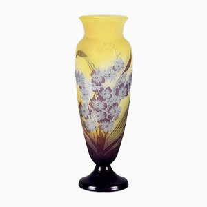 Antique Floral Vase by Emile Gallé for Etched Cameo Glass