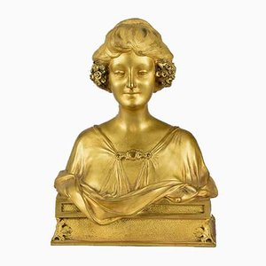 Antique Art Nouveau Bust by Maurice Bouval for Societe des Bronzes
