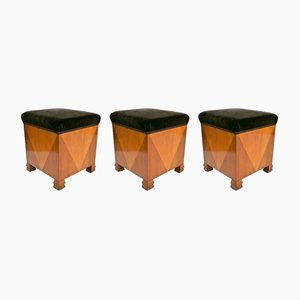 Art Deco Ottomans, 1920s, Set of 3