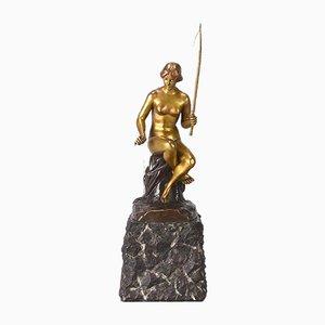 Antike Jugendstil Fischermädchen Skulptur von S. Schmalenberger