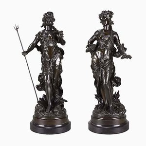 Antique Sculptures by Hippolyte Moreau, Set of 2