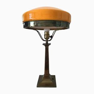 Art Nouveau Swedish Bronze & Glass Table Lamp, 1920s