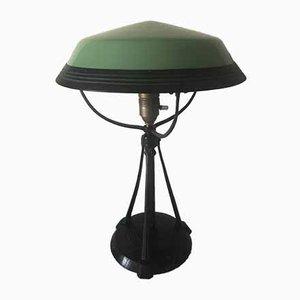Antique Art Nouveau Swedish Glass & Zinc Table Lamp