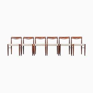 Esszimmerstühle mit Gestell aus Palisander von H.W. Klein für Bramin, 1970er, 6er Set
