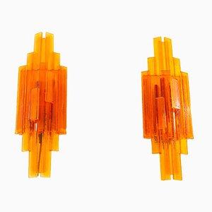 Orangefarbene Wandleuchten aus Acryl von Claus Bolby für CeBo Industri, 1970er, 2er Set