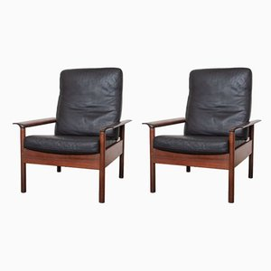Black Leather & Rosewood High Back Lounge Chairs by Hans Olsen for Gervan, 1959, Set of 2