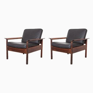 Vintage Black Leather & Rosewood Lounge Chairs by Hans Olsen for Gervan, 1959, Set of 2