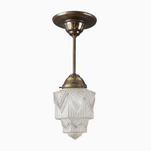Weiße Art Déco Deckenlampe aus Milchglas, 1920er