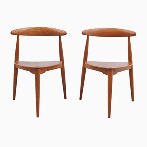 Heart Chair in Teak by Hans J. Wegner for Fritz Hansen, 1950s, Set of 2