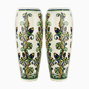 Floral Enamelled Earthenware Vases by Charles Catteau for Boch Frères, 1927, Set of 2