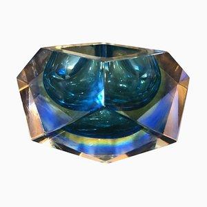 Cenicero Mid-Century de cristal de Murano sumergido de Seguso, años 70